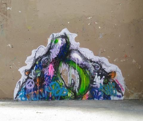 Combat d'hippopotame - Street Art (Paris, 2019)