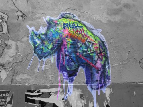 Ange rhinocéros - Street Art (Paris, 2019)